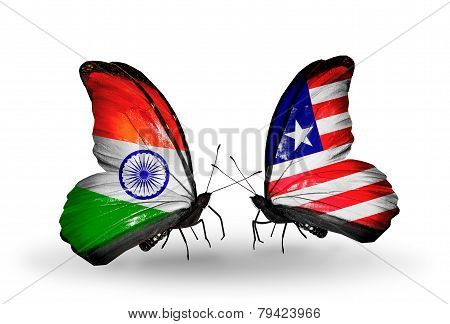 Two Butterflies With Flags On Wings As Symbol Of Relations India And  Liberia