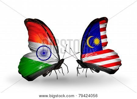 Two Butterflies With Flags On Wings As Symbol Of Relations India And Malaysia