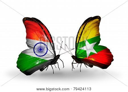 Two Butterflies With Flags On Wings As Symbol Of Relations India And Myanmar