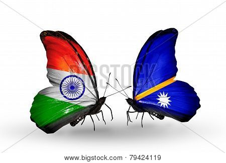 Two Butterflies With Flags On Wings As Symbol Of Relations India And Nauru