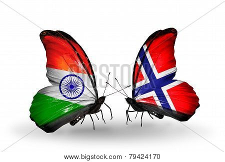 Two Butterflies With Flags On Wings As Symbol Of Relations India And Norway