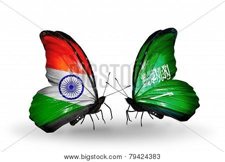 Two Butterflies With Flags On Wings As Symbol Of Relations India And Saudi Arabia