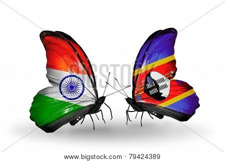 Two Butterflies With Flags On Wings As Symbol Of Relations India And  Swaziland