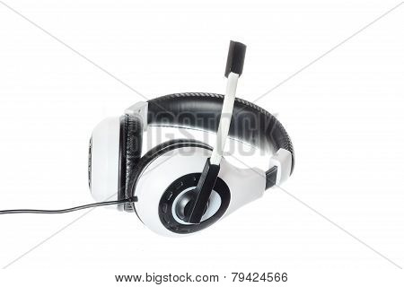 Headphones With Microphone Side View Isolated On White