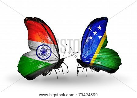 Two Butterflies With Flags On Wings As Symbol Of Relations India And Solomon Islands