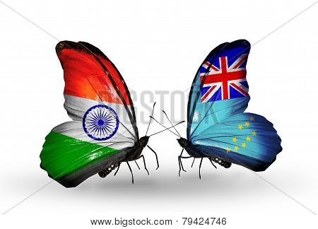 Two Butterflies With Flags On Wings As Symbol Of Relations India And Tuvalu