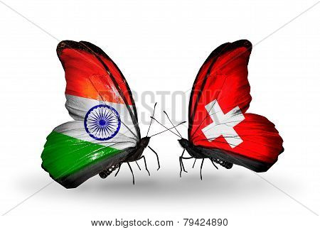 Two Butterflies With Flags On Wings As Symbol Of Relations India And Switzerland