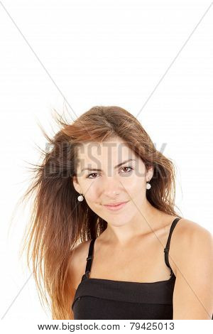 Pretty Girl With Tousled Hair In The Wind