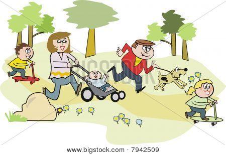 Happy family in park cartoon