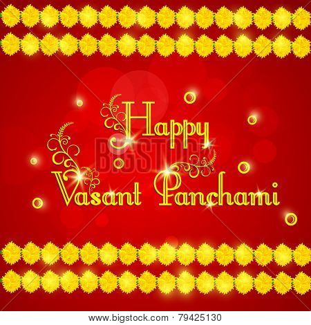 Elegant greeting card design with shiny text Happy Vasant Panchami and flowers decoration on red background.