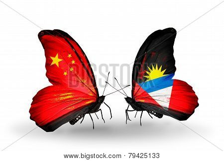 Two Butterflies With Flags On Wings As Symbol Of Relations China And Antigua And Barbuda