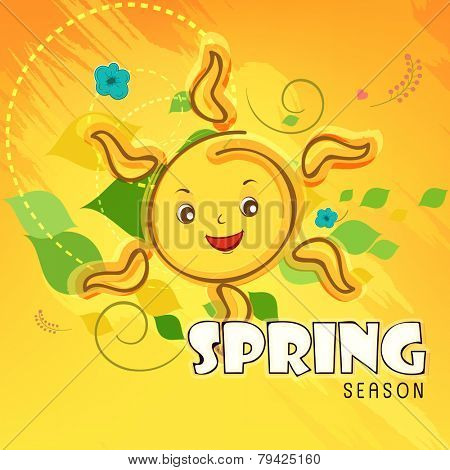 Smiling sun with text Spring Season on colorful background.