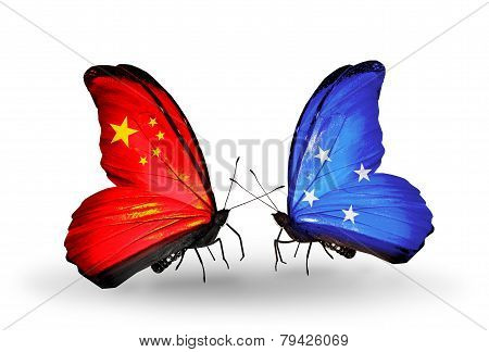 Two Butterflies With Flags On Wings As Symbol Of Relations China And Micronesia