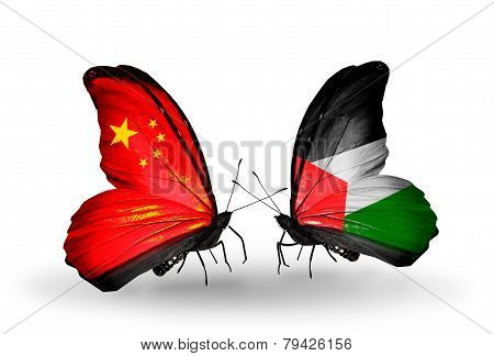Two Butterflies With Flags On Wings As Symbol Of Relations China And Palestine