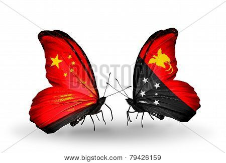 Two Butterflies With Flags On Wings As Symbol Of Relations China And Papua New Guinea