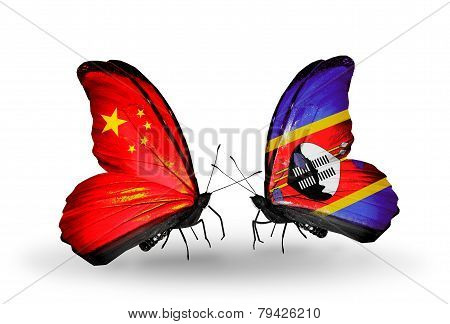 Two Butterflies With Flags On Wings As Symbol Of Relations China And Swaziland