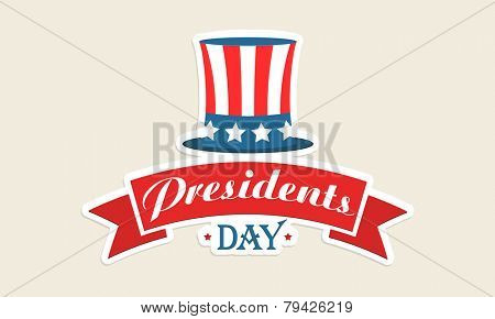 American Presidents Day celebration sticker or label with hat in national flag colors on beige background.