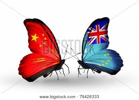 Two Butterflies With Flags On Wings As Symbol Of Relations China And Tuvalu