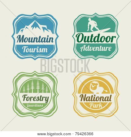 Set of four badge of mountain tourism, outdoor adventure, forestry guardians and national park.