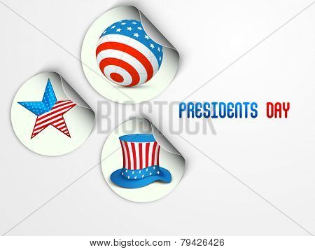 Sticker, tag or label with globe, star and hat in United State of American flag color for Presidents Day celebration.