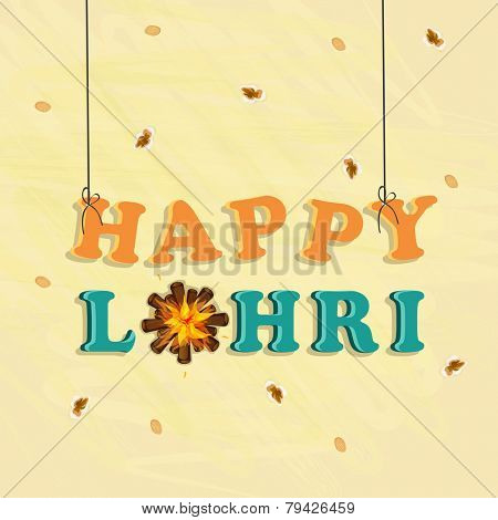 Hanging text Happy Lohri and bonfire on decorated vintage background.