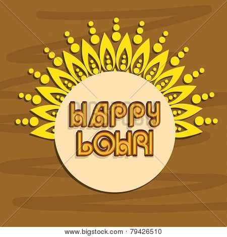 Punjabi festival, Happy Lohri celebration sticker or label design on floral decorated brown background.