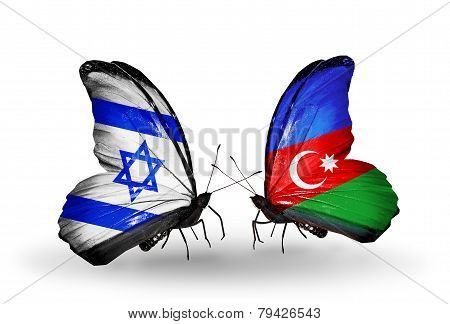 Two Butterflies With Flags On Wings As Symbol Of Relations Israel And Azerbaijan