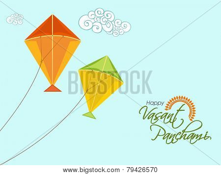Happy Vasant Panchami celebration with colorful kites on sky blue background.