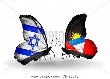 Two Butterflies With Flags On Wings As Symbol Of Relations Israel And Antigua And Barbuda