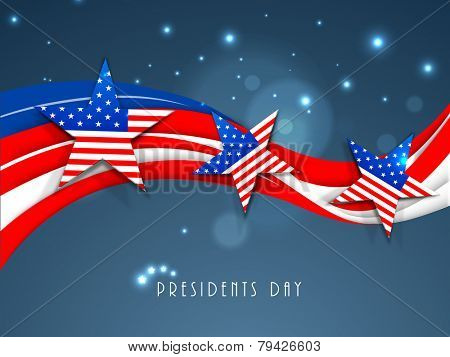 United State of American flag color waves with stars for Presidents Day celebration on shiny blue background.