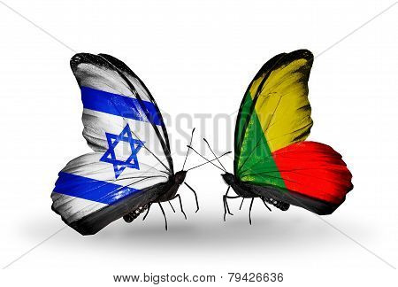 Two Butterflies With Flags On Wings As Symbol Of Relations Israel And Benin