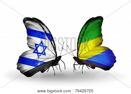 Two Butterflies With Flags On Wings As Symbol Of Relations Israel And Gabon