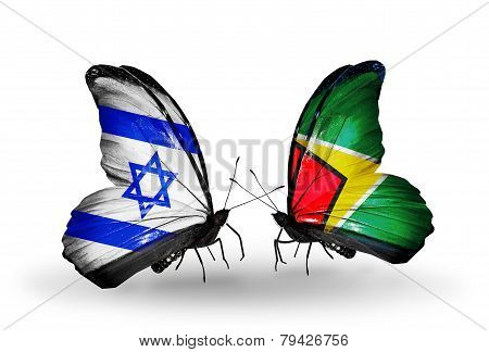 Two Butterflies With Flags On Wings As Symbol Of Relations Israel And Guyana