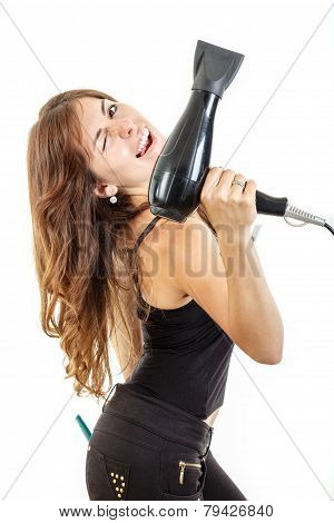 Smiling Professional Female Hairdresser Holding Hairdryer