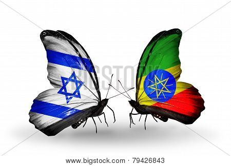 Two Butterflies With Flags On Wings As Symbol Of Relations Israel And Ethiopia