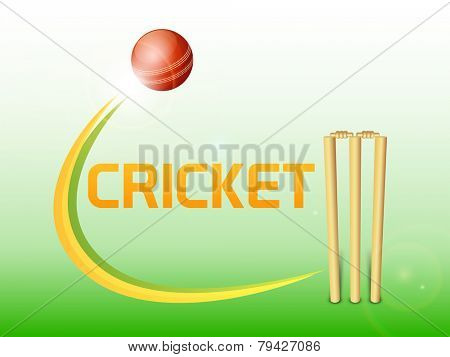 Red bouncing ball with wicket stumps for Cricket on green and grey background.