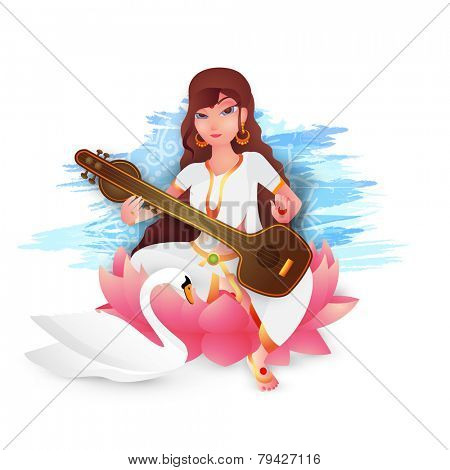 Hindu Community festival, Vasant Panchami celebration with Goddess Saraswati (Goddess of knowledge) sitting on lotus and holding musical instrument (Veena) with swan on floral decorated background.