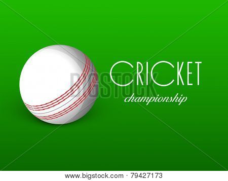 Shiny ball on green background for Cricket Championship.