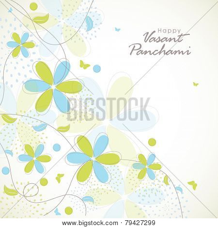 Happy Vasant Panchami, Hindu community festival celebration greeting card decorated by pastel color flowers.