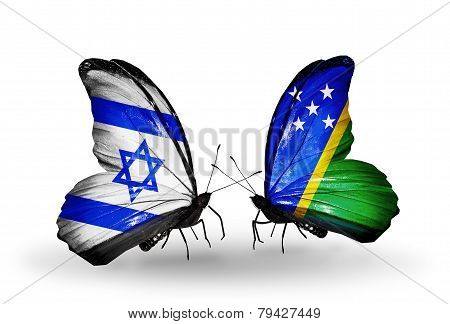 Two Butterflies With Flags On Wings As Symbol Of Relations Israel And  Solomon Islands