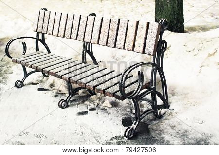 Park Bench In The Winter