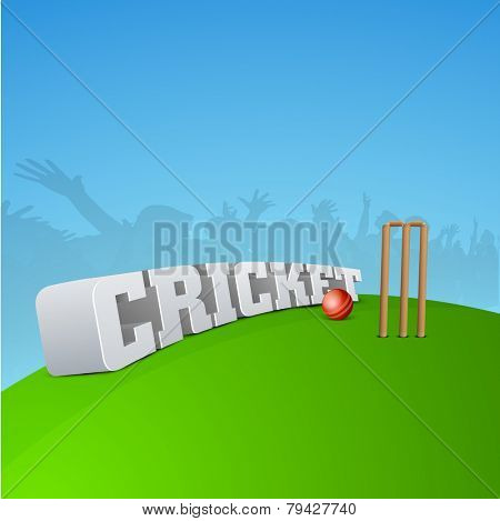 3D Cricket text with cricket ball, stump, wicket and silhouette of audience.