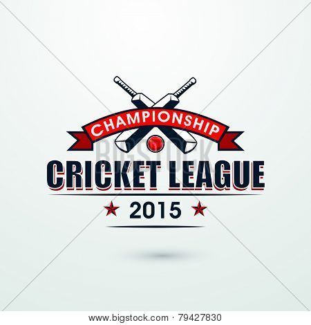Cricket Championship League 2015 with bats and red ball, can be used as poster or banner design.