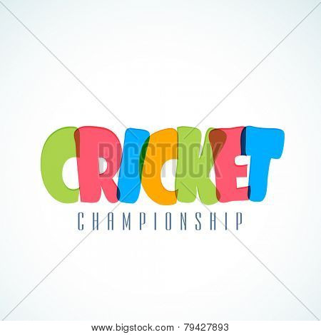Colorful text for Cricket Championship on white and sky blue background.