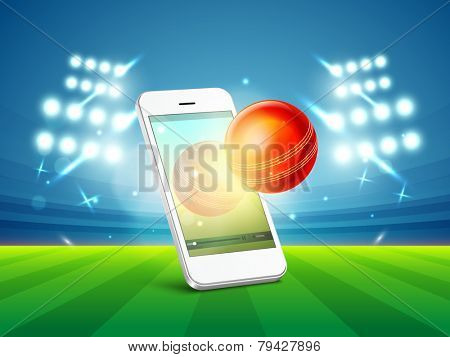Stylish smartphone video screen showing red cricket ball in stadium light.