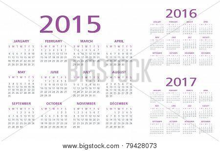 English Calendar 2015-2016-2017 vector
