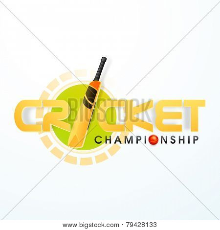 Cricket Championship concept with bat and red ball on white background.