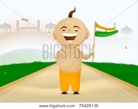 Religious Hindu boy enjoying and holding National Flag on famous monument background for Indian Republic Day celebrations.