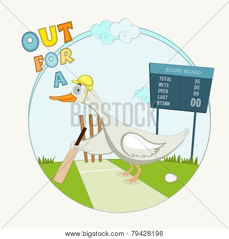 Comic illustration of Duck holding a bat for symbol of bowled out for no runs, no score and big zero on the score board.