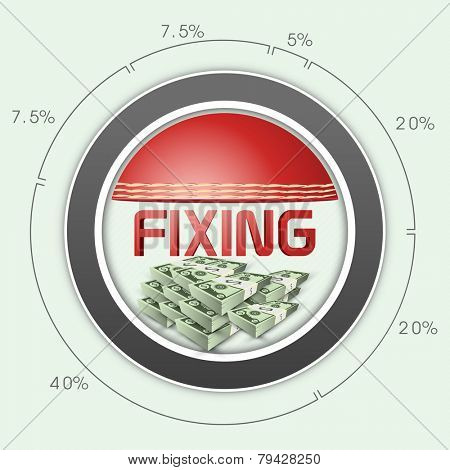 Cricket match fixing concept with statistics and bundles of US dollar.